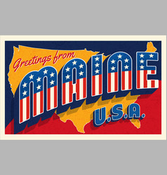 greetings from maine usa july 4th retro postcard vector image