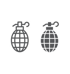 grenade line and glyph icon weapon and army bomb vector image