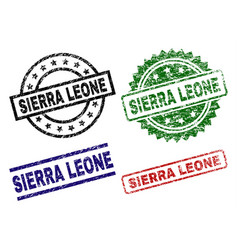 Grunge textured sierra leone stamp seals vector