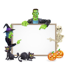 halloween monsters background sign vector image