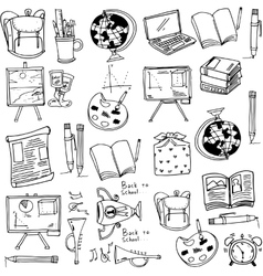 Hand draw education supplies doodles vector image