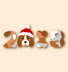 Happy chinese new year 2018 face dog in santa hat vector