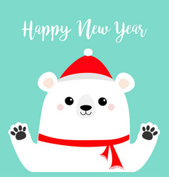 Happy new year white polar bear holding hands paw vector