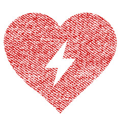 Heart power fabric textured icon vector
