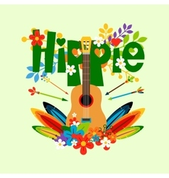 Hippie with guitar and flowers vector