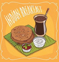Indian breakfast round flatbread and masala chai vector