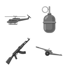 Isolated object of weapon and gun icon set vector