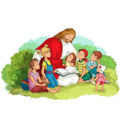 Jesus reading bible with children isolated vector