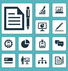 Job icons set collection of chatting presenting vector
