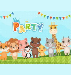 jungle animals background celebration placard vector image