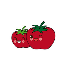 Kawaii two ripe tomatoes juicy vegetable cartoon vector