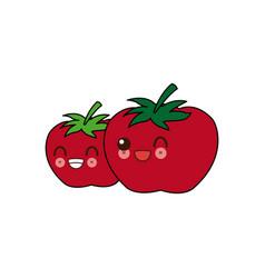 kawaii two ripe tomatoes juicy vegetable cartoon vector image
