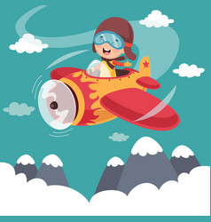kid operating plane vector image