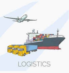 logistics sign with plane truck container and vector image