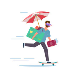 Long-awaited vacation man is in hurry vector