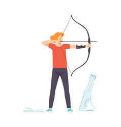 Male archer standing with bow and aiming to target vector