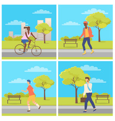 man and woman driving or going in park vector image