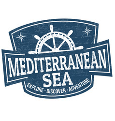 mediterranean sea sign or stamp vector image