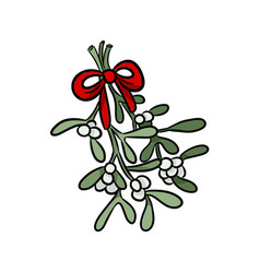 mistletoe hand drawn colorful sticker doodle vector image