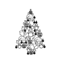 Monochrome pattern of christmas silhouettes in vector