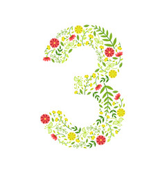 number 3 green floral number made leaves and vector image