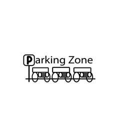 parked cars in a parking zone over white vector image