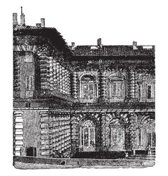 Part of the back of the pitti palace at florence vector