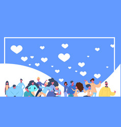 People group flying hearts icon on blue background vector
