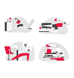 People practicing stretching at home set fitted vector