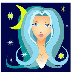 Portrait of a girl in the night sky vector image