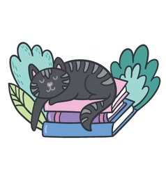 postcard with adorable sleepy kitten books and pl vector image