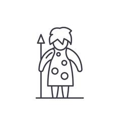 prehistoric man line icon concept prehistoric man vector image