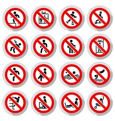 Prohibited signs paper sticky vector