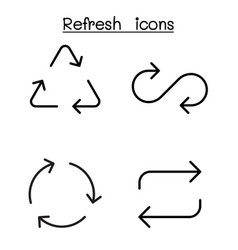 refresh icon set in thin line style vector image