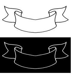 Ribbon banner simple outline icons black and vector
