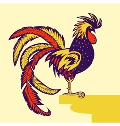Rooster decorated with patterns vector