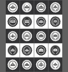 round stamps with crowns and laurel branches set vector image