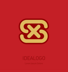s and x initial logo sx - design element or icon vector image