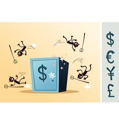 Safe deposit box protected from thief vector