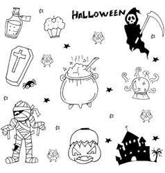 Scary character Halloween in doodle vector