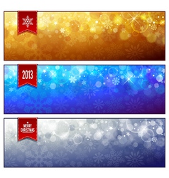 Set of horizontal luminous Christmas banners vector image