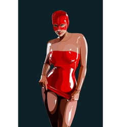 Sexy woman in red latex vector