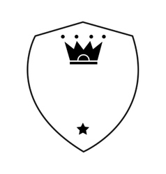 Shield with crown and star icon vector