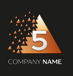Silver number five logo in pixel triangle shape vector