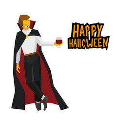 Standing vampire with wineglass in hand vector
