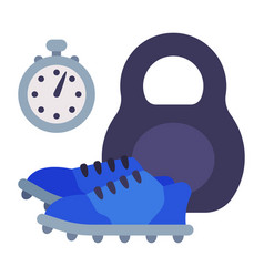 stopwatch sneakers and kettlebell school sports vector image