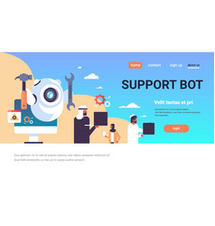 support bot robot wrench service repair concept vector image