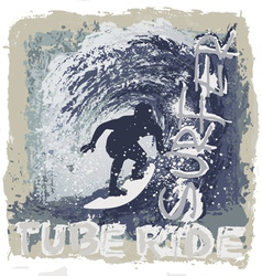 Surfing tube ride vector