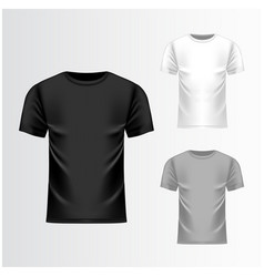 T-shirt black grey white template front view vector