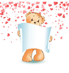 Teddy bear paper scroll in paw isolated vector